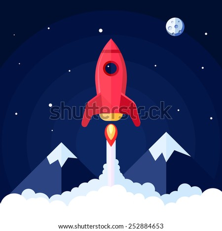 Space poster with rocket launch with mountain landscape on background vector illustration - stock vector