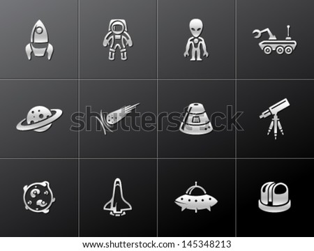 Space related icons in metallic style - stock vector