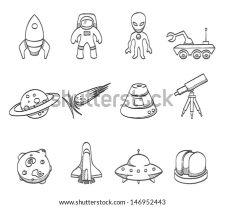 Space related icons in sketch - stock vector