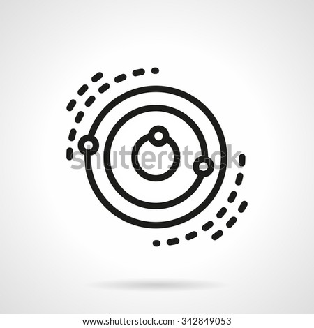 Space research technology, artificial orbiting satellites. Abstract model. Black simple line style vector icon.  Elements of web design for business, website and mobile - stock vector