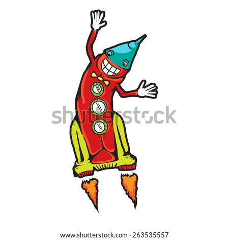 Space rocket flying. Comic Rocket Ship. Cartoon spaceship. Blasting off and flying. Rocket isolated. No transparency used. Eps 8 - stock vector