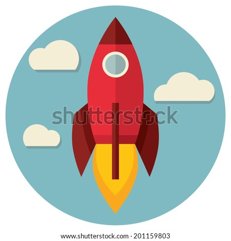 Space rocket flying in sky, flat design colored vector illustration - stock vector