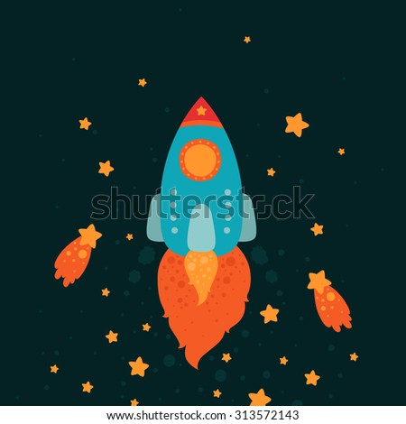 Space rocket flying with stars and comets, cartoon spaceship on black background - stock vector
