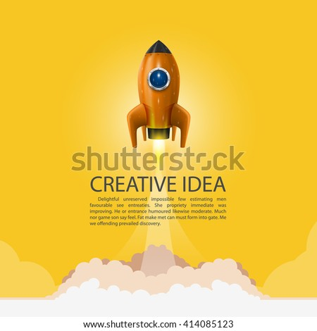 Space rocket launch. Rocket background, Rocket product cover, Startup creative idea, Vector illustration - stock vector