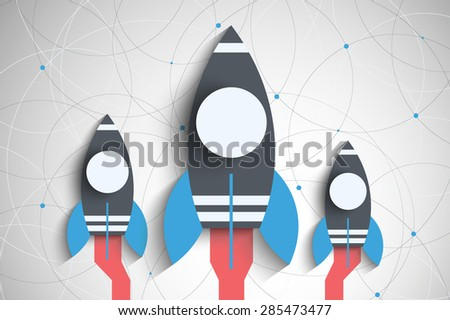 Space rocket launch. Start up concept flat style. Vector illustration. EPS10 vector for your design - stock vector