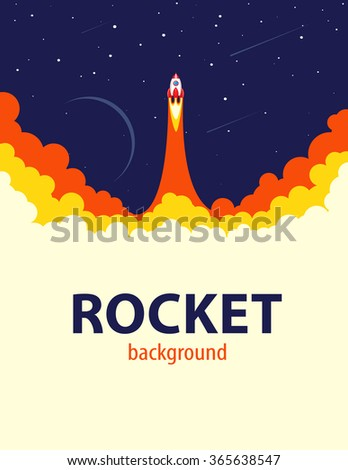 Space rocket launch.  Start up or science concept. Vector illustration - stock vector