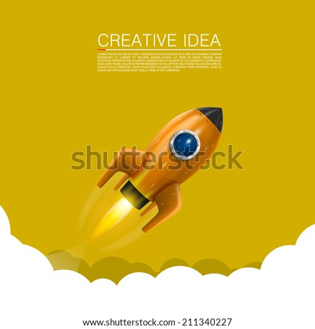 Space rocket launch. Vector illustration - stock vector