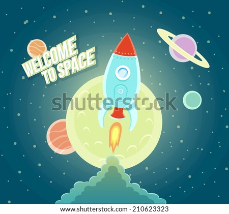 Space Rocket Ship Sky Icon Trendy Modern Flat Design Template Vector Illustration - stock vector