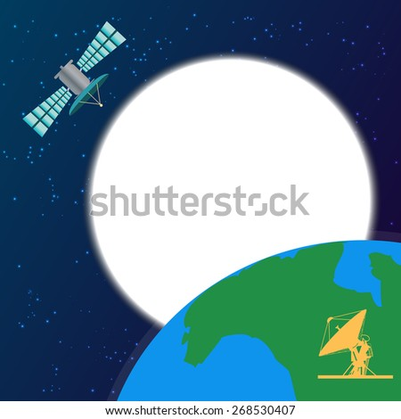 Space satellite orbiting above the earth - stock vector
