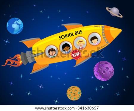 Space School Bus - stock vector