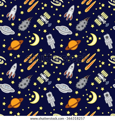 Space seamless pattern. Vector eps 10. - stock vector