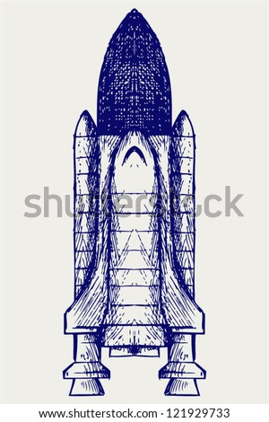 Space ship. Doodle style - stock vector