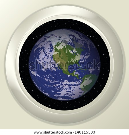 Space ship round window porthole with planet Earth and stars on white wall. Elements of this image furnished by NASA. Vector - stock vector