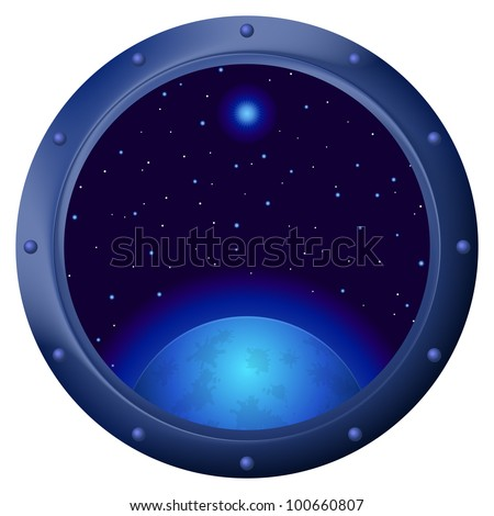 Space ship window porthole with dark blue sky, planet and stars. Vector - stock vector