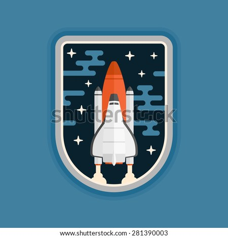 Space shuttle concept vehicle launch badge design - stock vector