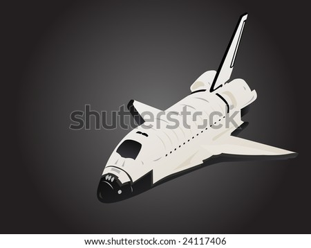 Space Shuttle 3d View in Black Space - stock vector