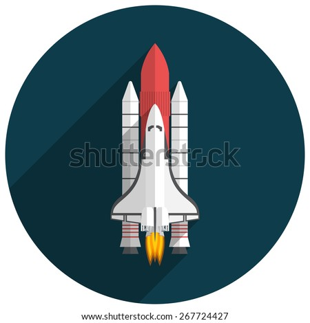 Space Shuttle, Flat design, vector illustration, long shadow - stock vector