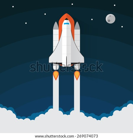 Space Shuttle Launch. Spaceship and space background - stock vector