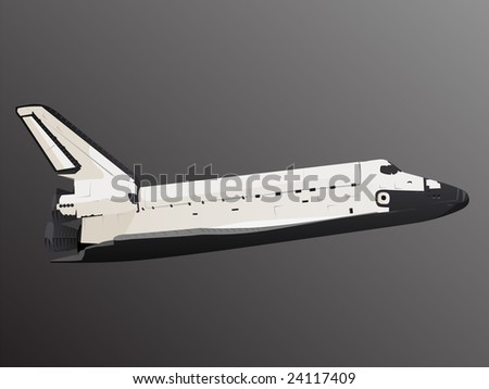 Space Shuttle Profile View in Black Space - stock vector