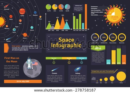 Space solar system and exploration history infographic set flat vector illustration  - stock vector