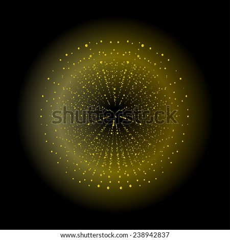 Space sparks spray shiny explosion. Yellow color salute. Vector clip art isolated on black - stock vector