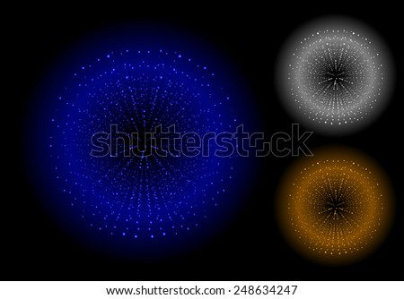 Space sparks spray shiny explosions set. Blue, silver, bronze color. Vector clip art isolated on black - stock vector