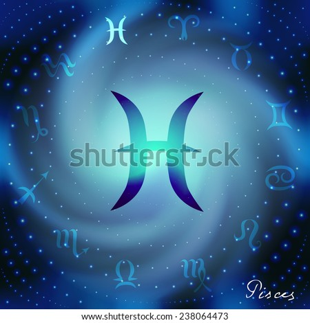 Space spiral with astrological Pisces symbol in center. - stock vector