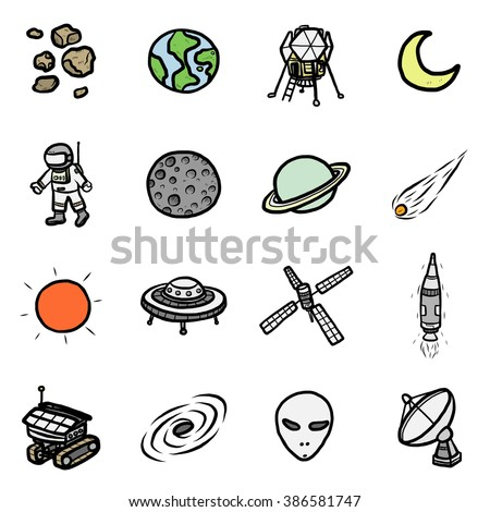 space technology objects or icons set/ cartoon vector and illustration, hand drawn style, isolated on white background. - stock vector