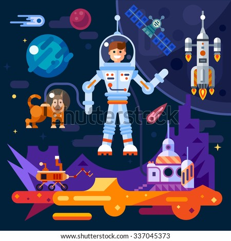 Space theme art work: astronaut, space doggy, surface of Mars, space ship, satellite, planet, rover, comet and stars, alien world. Stock flat vector illustration set. - stock vector