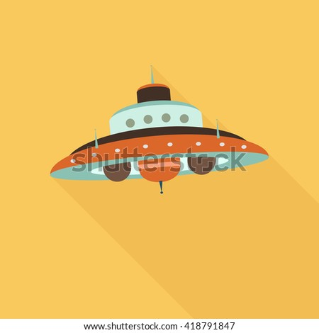Space ufo flat icon with shadow - stock vector