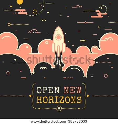 Space vector illustration in outline style, rocket flying above clouds into space. Rocket launch. Open new horizons poster design with rocket, flame and clouds in retro style. Business success concept - stock vector