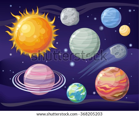 Planets stock vectors vector clip art shutterstock for Outer space design
