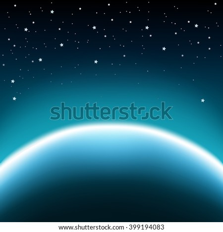 Space with stars and blue planet horizon background - stock vector
