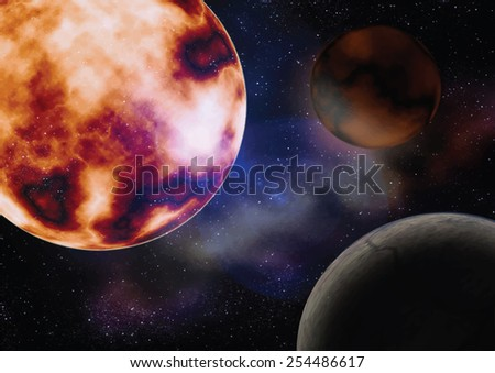 space with the sun planets illustration - stock vector