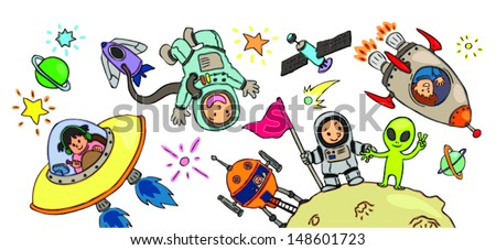 Spacekid adventure artworkm create by vector. It can be use for many decorartions. - stock vector