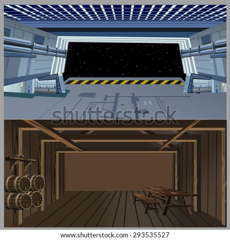 spaceship and medieval interiors - stock vector