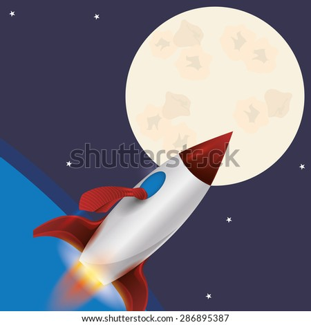 Spaceship design over space background, vector illustration - stock vector