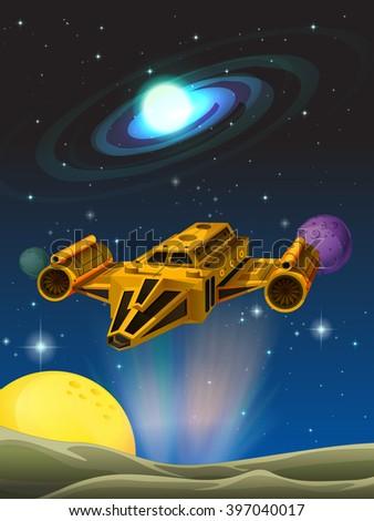 Spaceship landing on planet illustration - stock vector
