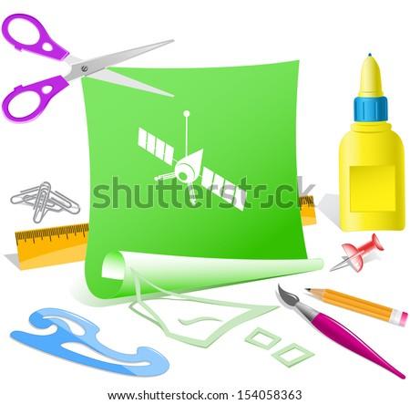Spaceship. Paper template. Raster illustration. - stock vector