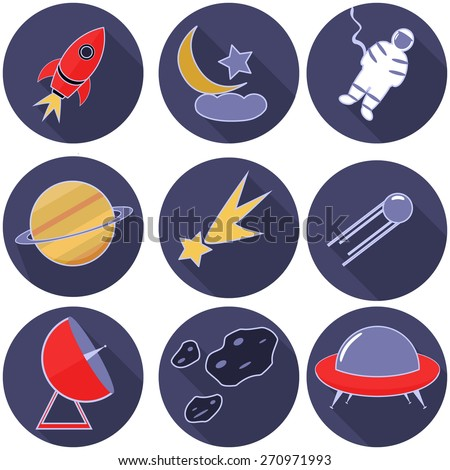 Spaceship, rocket, Moon, star and cloud, astronaut, Saturn, comet, satellite, radio telescope, asteroids, UFO flat style icon. Set - stock vector