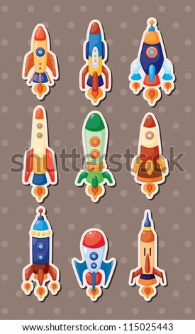 spaceship stickers - stock vector