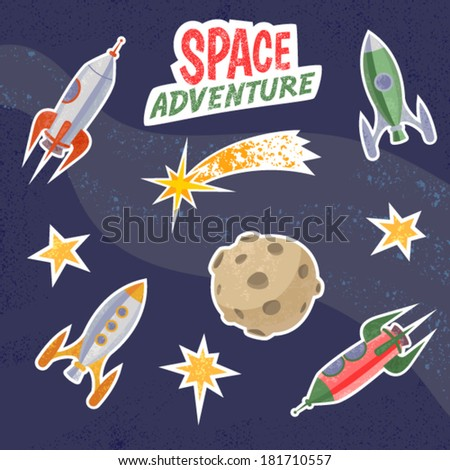 Spaceship stickers. Retro vector illustration of rockets, moon, comet and stars. - stock vector