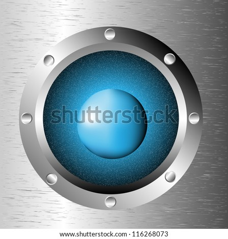 Spaceship window porthole with space: dark blue sky, planet and stars - stock vector