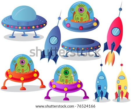 Spaceships on a white background,  vector illustration - stock vector