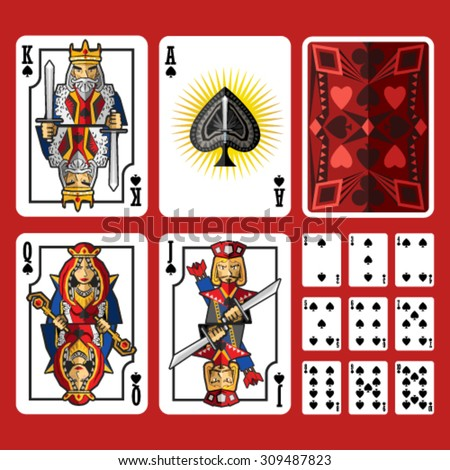 Spade Suit Playing Cards Full Set, include king queen jack and ace - stock vector