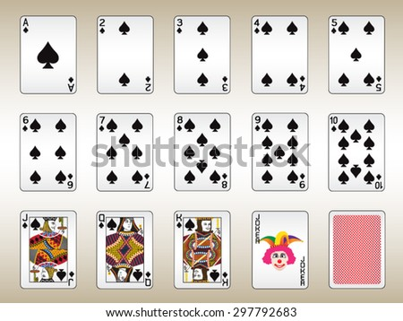 Spades Playing Cards Set - stock vector