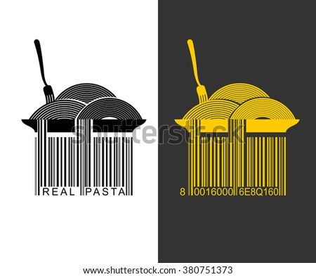 Spaghetti bar code. EAN-13 barcode pasta. Creative mark for packaging pasta. Plate with pasta. Spaghetti hang from plate. Fork and food  - stock vector