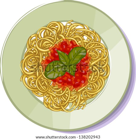 Spaghetti on plate, top view on white background. - stock vector
