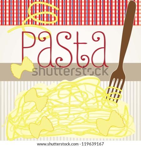 Spaghetti on striped vintage background vector illustration - stock vector