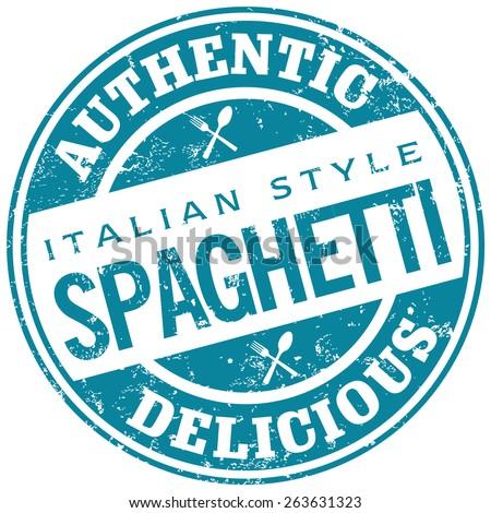spaghetti rubber stamp - stock vector